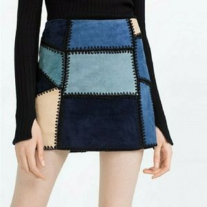 Zara Blue Sued Patchwork Skirt NWOT